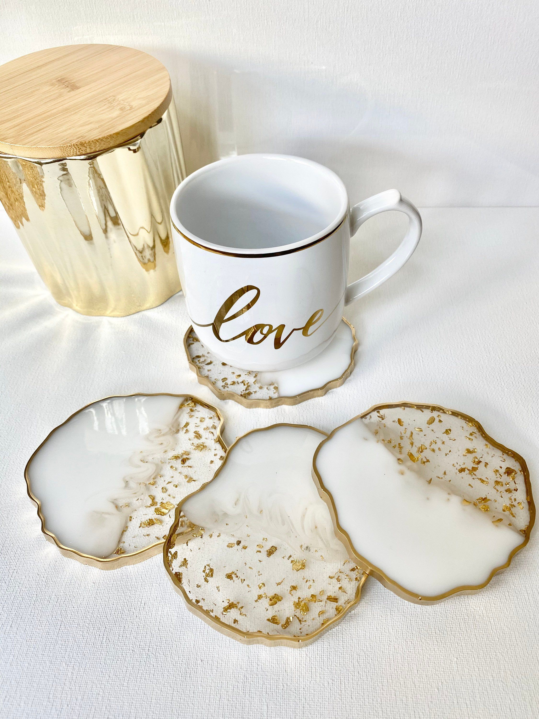 Photo of Resin coaster set- White and gold flake resin marble Geode Coasters, Handmade Agate Epoxy Coasters, housewarming, teacher gifts
