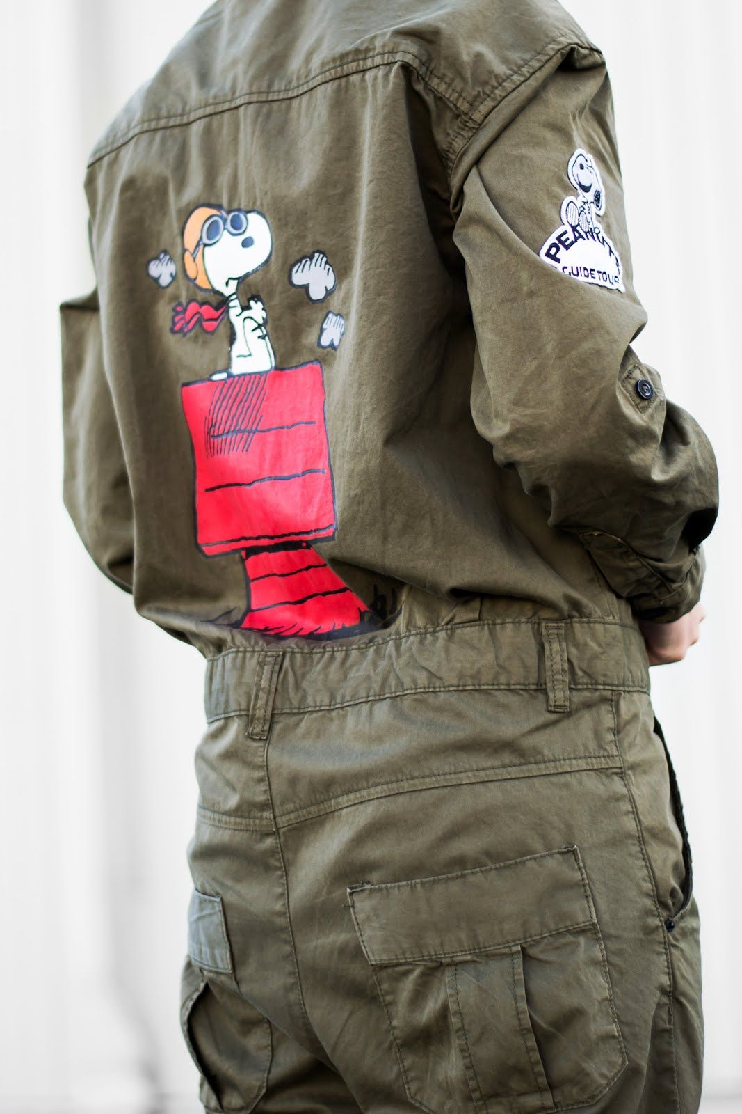 Peanuts boilersuit, jumpsuit, snoopy, zara trf, sale, khaki