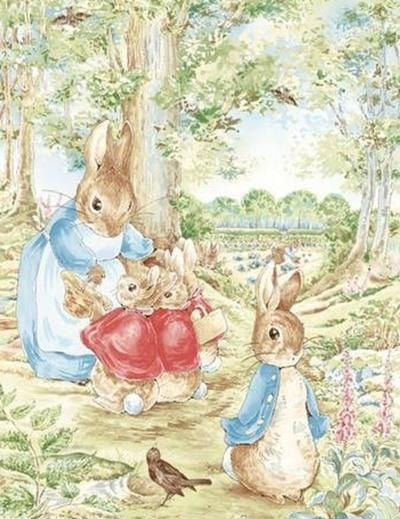 Beatrix Potter Peter Rabbit Fabric Xlg Scenic Quilt Panel