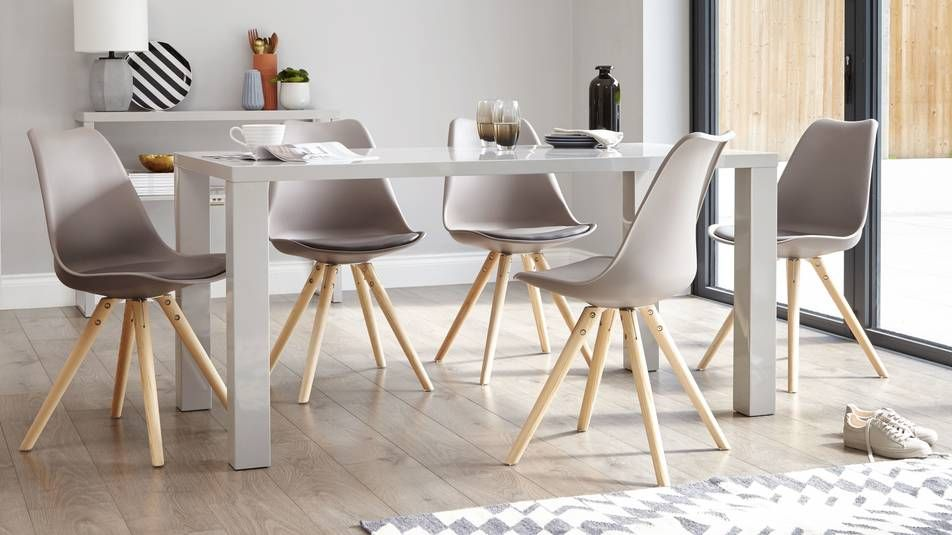 Fern White Gloss 6 Seater Dining Table