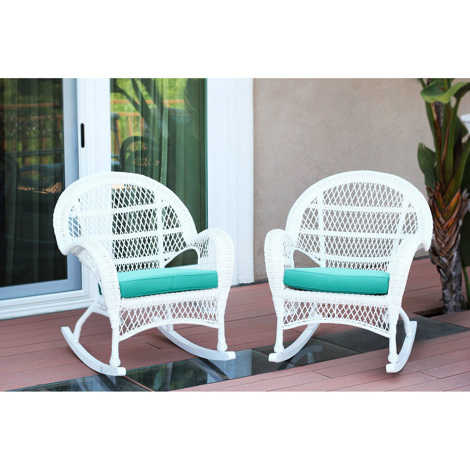 Outdoor Jeco Santa Maria Wicker Patio Rockers With Optional Cushion Set Of 2 Turquoise