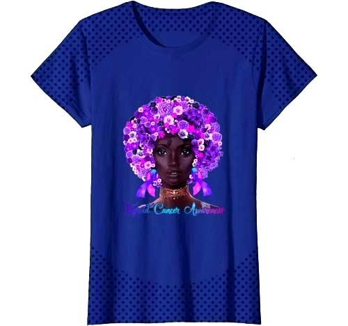 Womens Flowers Afro Hair Black Woman Thyroid Cancer Awareness T Shirt Women#afro...#afro