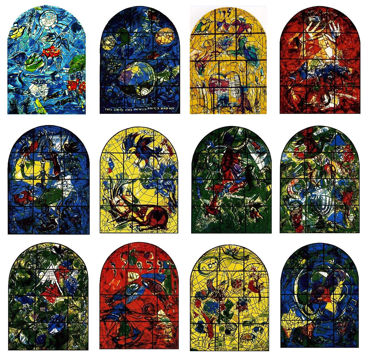 """Marc Chagall - """"Cycle if 12 stained glass windows for ... Chagall Hadassah Windows"""