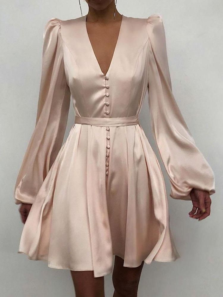 Women' s Bishop Sleeves Silk Mini A-line Dress, M