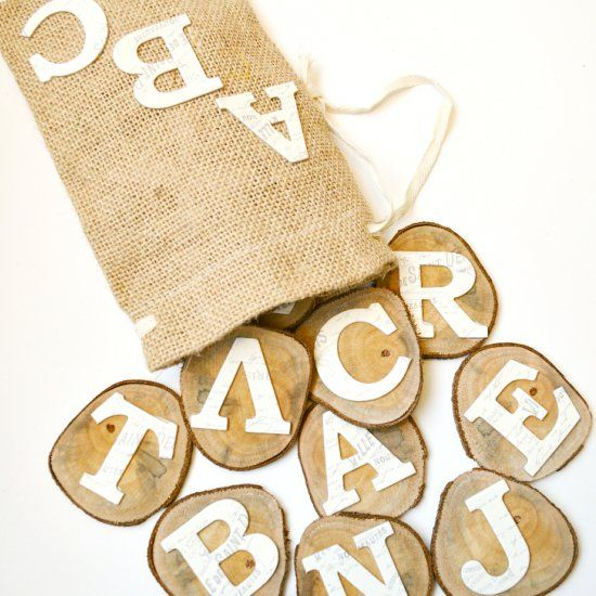 These DIY Wood Alphabet Learning Slices can help teach your preschooler! Bonus: 4 learning activities to use with this project!