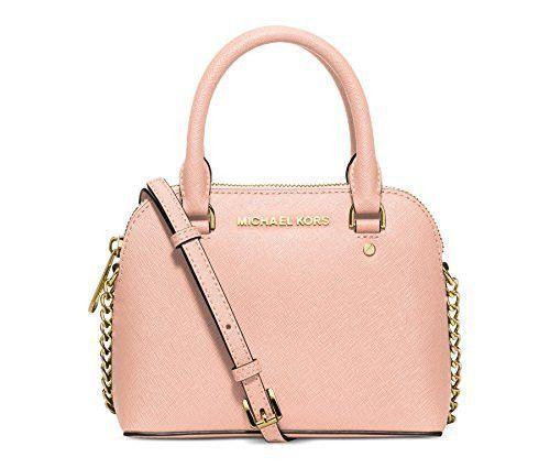 05ec445cb732 Michael Kors Cindy Mini Chain Dome Crossbody Pastel Pink Gold Bag