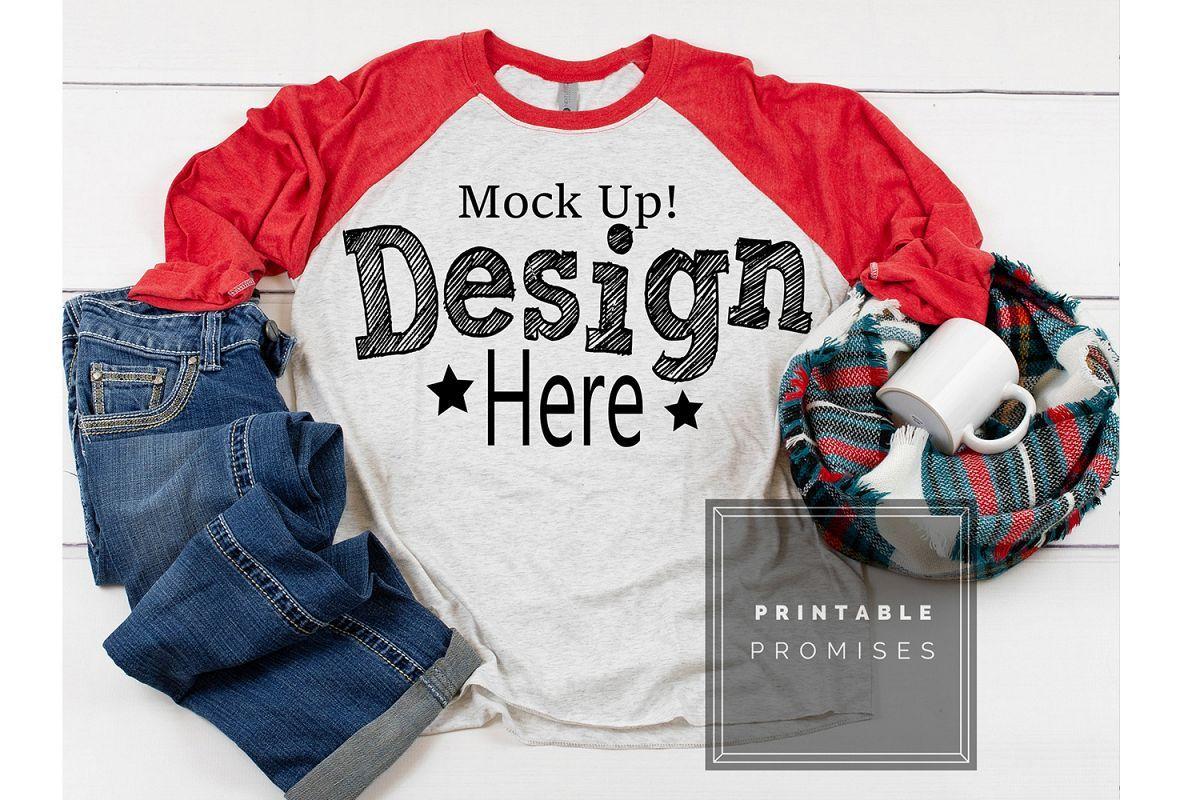 Download Raglan Mockup Next Level 6051 Red Raglan Mockup Shirt Affiliate Clothing Mockup Shirt Mockup Tshirt Mockup