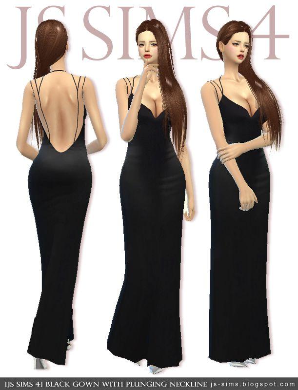 e138d286d7 Black Gown With Plunging Neckline