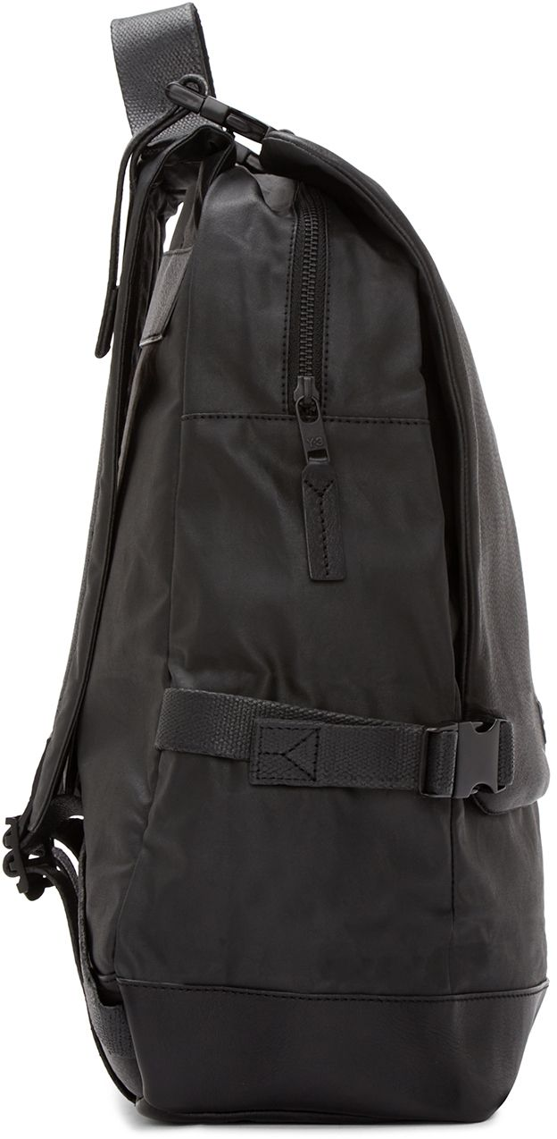 bb6739e6e55 Y-3  Black Leather Toile Backpack   SSENSE   bags   Pinterest ...