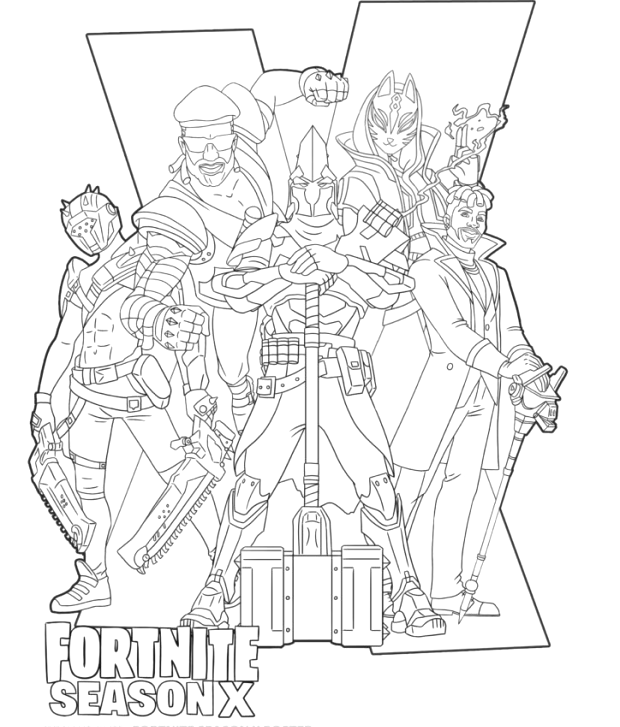 Fortnite Season 10 Characters With X Coloring Page Fortnite Fortniefanart Fanart Coloringpage Co Coloring Pages Coloring Pages For Boys Comic Book Artwork