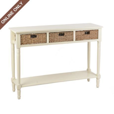 Beau Cream Storage Basket Console Table