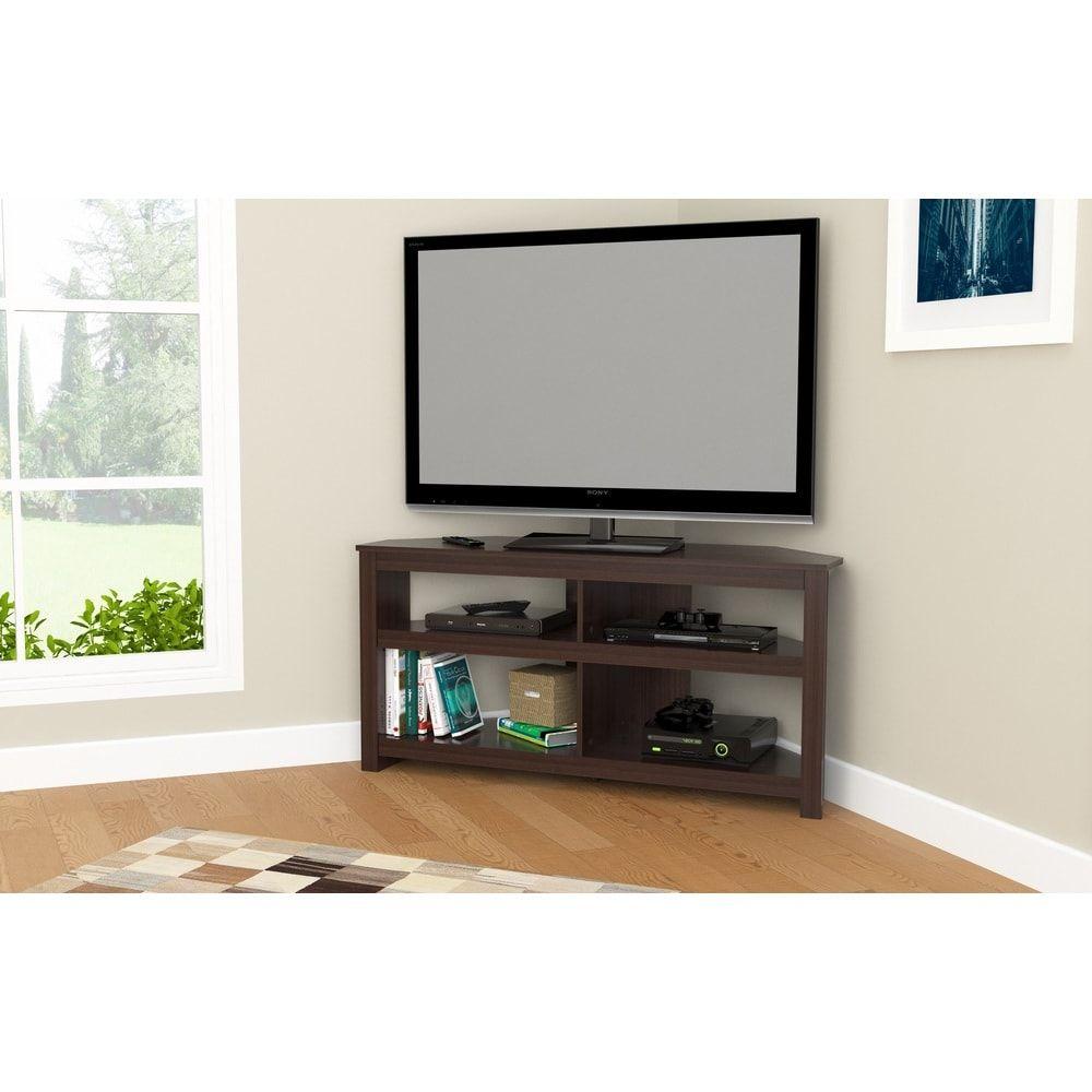 Inval Contemporary Espresso Corner Tv Stand Overstock Com  # Modele Etagere Television En Fer Forge