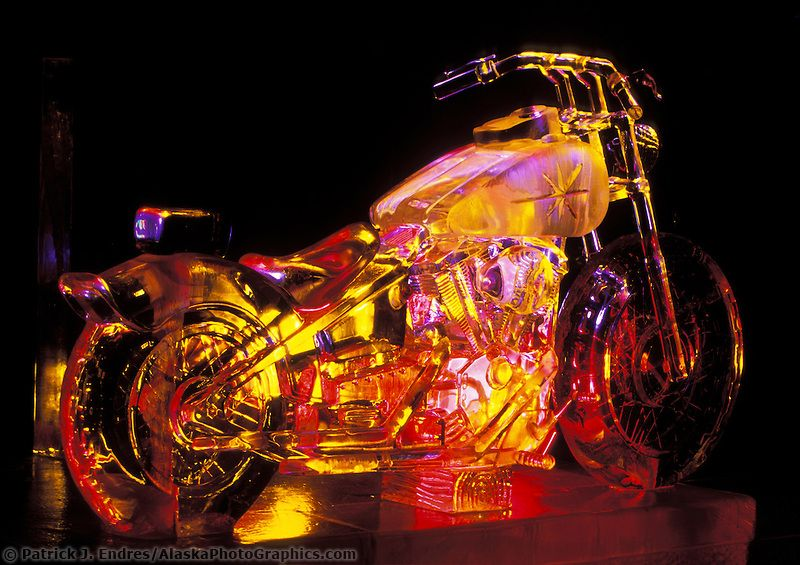Ice sculpture lit with colored lights | AlaskaPhotoGraphics.com
