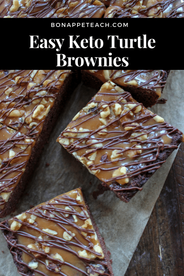 Easy Keto Turtle Brownies - A low carb, cake like brownie that's topped with a keto friendly caramel sauce, pecans, and dark chocolate drizzle. #ketobrownie