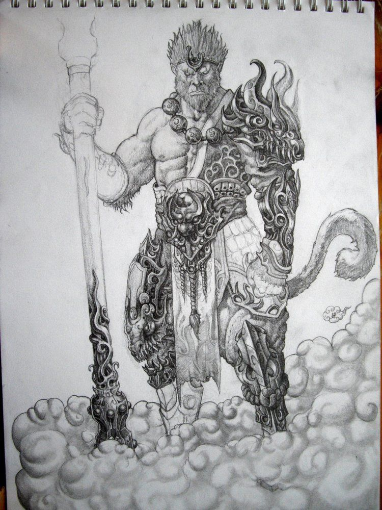 This is a photo of Crush Sun Wukong Drawing