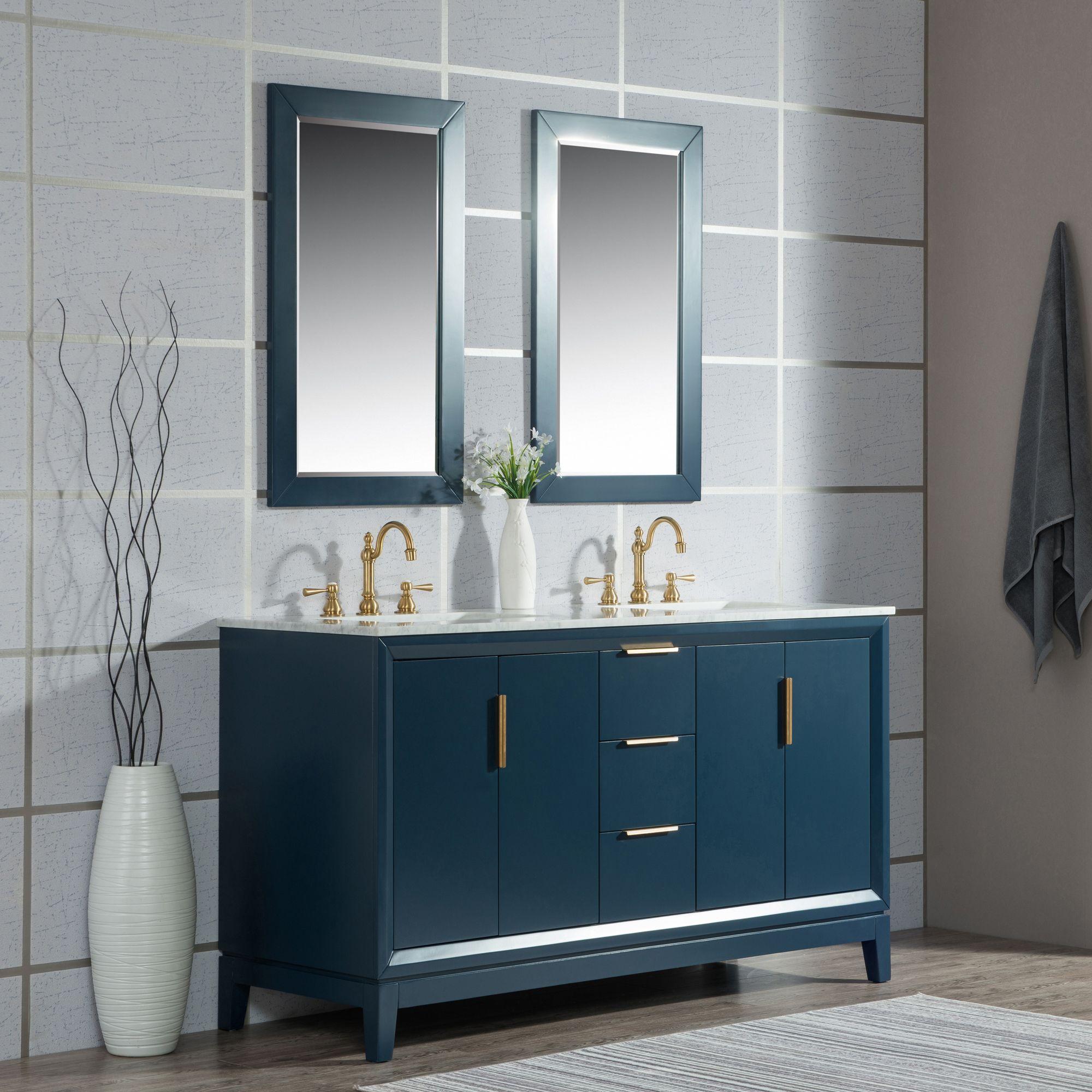 Elizabeth 60 Inch Double Sink Carrara White Marble Vanity In Monarch Blue Double Vanity Bathroom Blue Bathroom Vanity Marble Vanity Tops