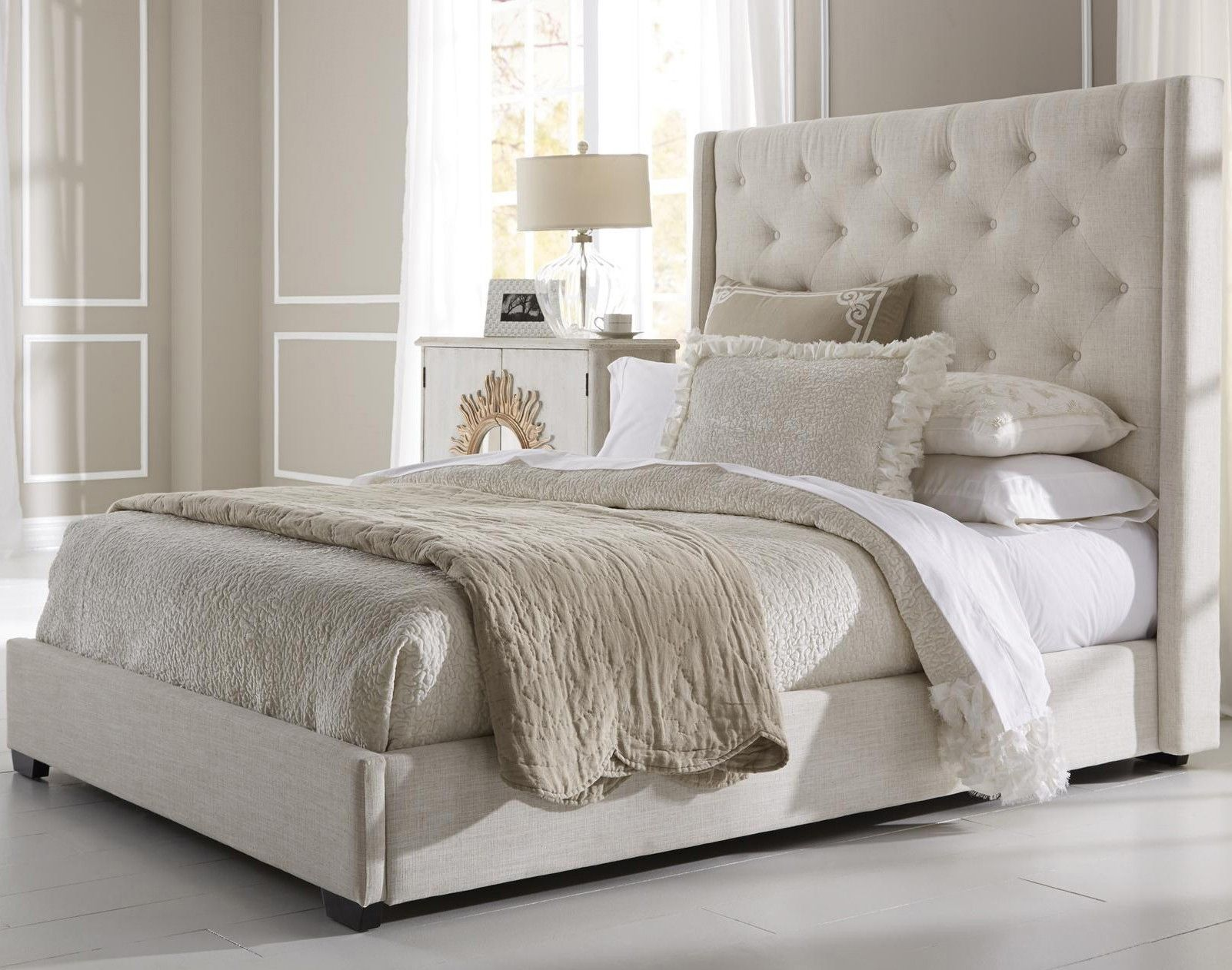 Contemporary shelter fabric upholstered bed in cream by pri king headboard footboard frame