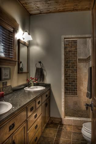 Like The Idea Of Walk In Shower And Also Dark Cabinet Top With Wooden Cabinets