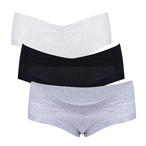af34465c286bb Intimate Portal Women Under the Bump Maternity Panties Pregnancy Underwear  3Pk Black White Gray L >>> You can find more details by visiting the image  link.