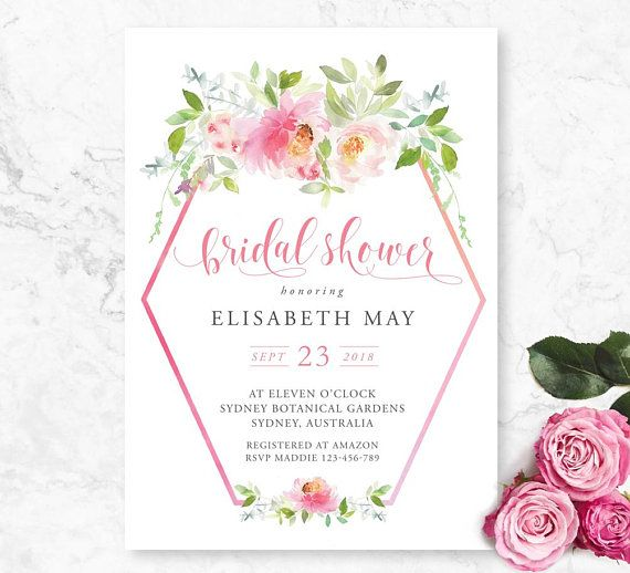 Bridal shower invitation floral geometric printable invite floral bridal shower invitation floral geometric printable invite floral bridal shower bridal luncheon filmwisefo