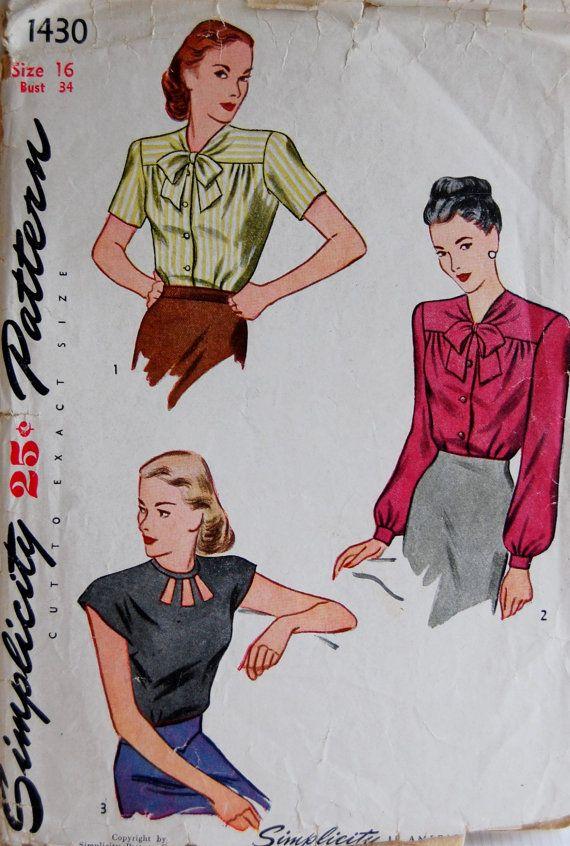 15f8e62cc4ee9d Vintage 1940s Simplicity Misses  Women s Blouse Pattern 1430 Size 16 ...