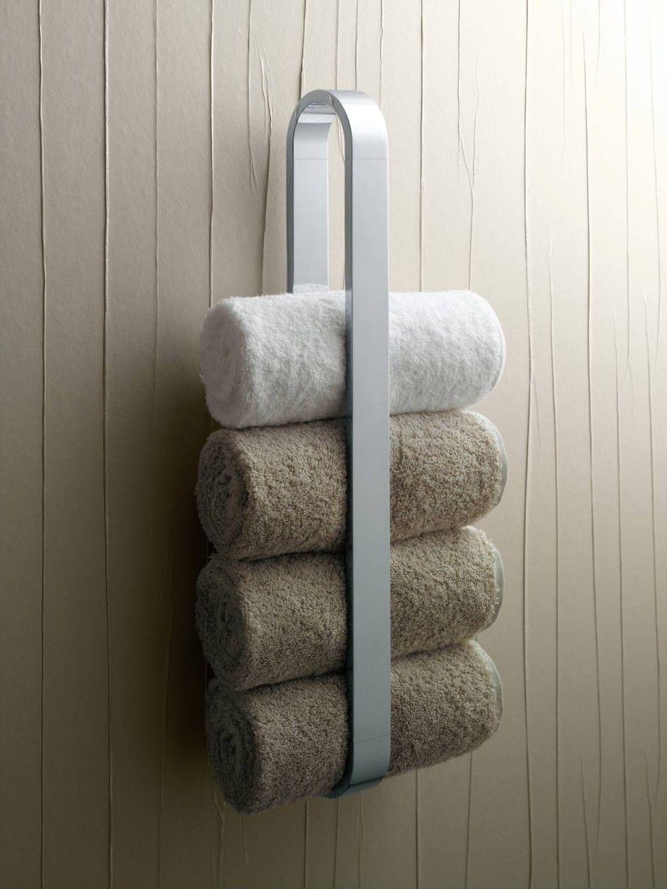 Bathroom Luxury White Steel Towel Rack And Three White Smooth Towel