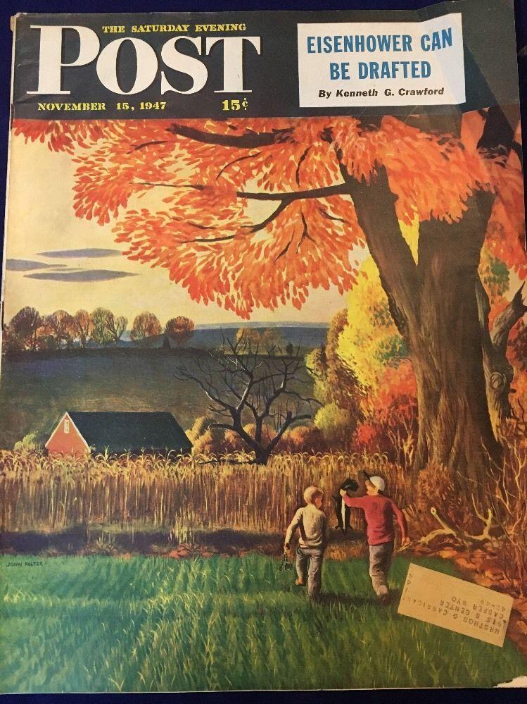 Saturday Evening Post Art COVER ONLY John Falter Boys Skunk November 15, 1947