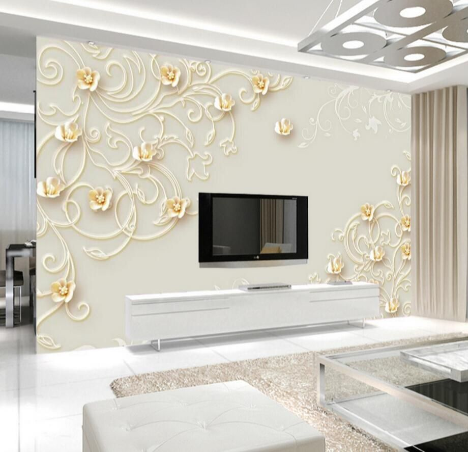 3D Floral Wallpapers Photo Wall Mural for Living Room Modern ...
