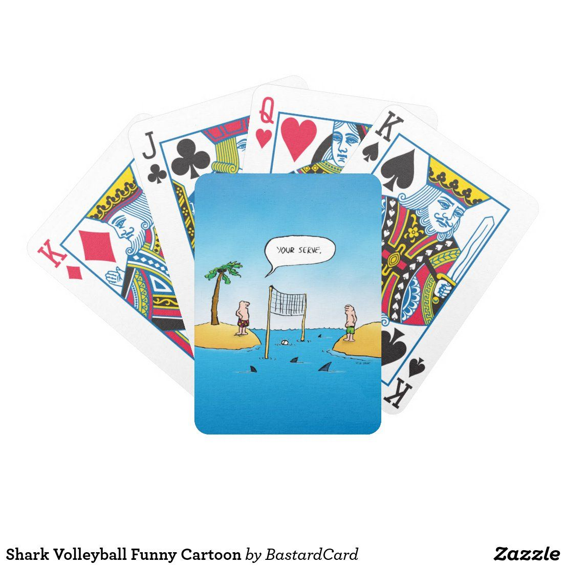 Shark Volleyball Funny Cartoon Bicycle Playing Cards Zazzle Com Bicycle Playing Cards Funny Cartoon Volleyball Humor