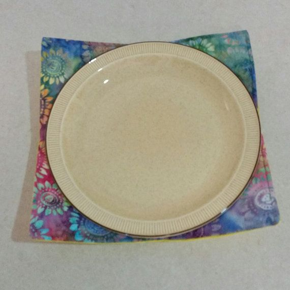 Microwave Plate Holder Reversable in a by Handmadebypauline1 & Microwave Plate Holder (Reversable) in a Rainbow Batik print matched ...