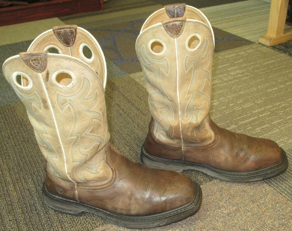 c7cbeacbe69 Mens ARIAT Workhog Square Toe Tall Steel Toe Work Boots sz 10 EE ...
