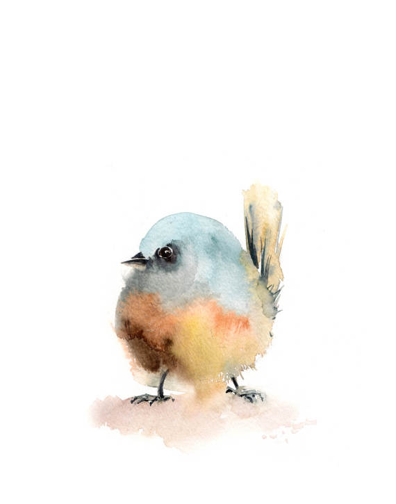 Minimalist Bird Art Print Bird Watercolor Painting Art