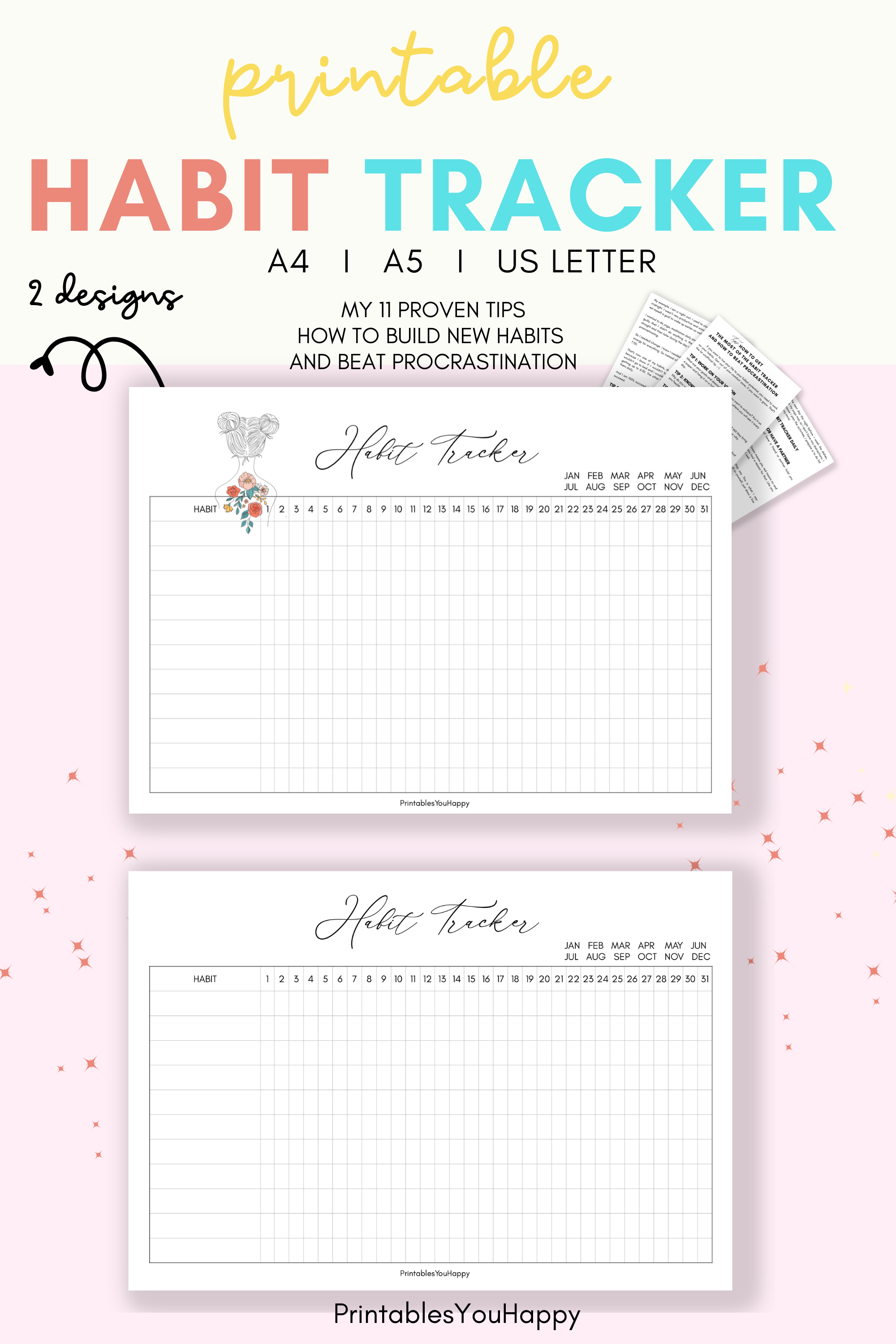 I love using this for me positive printable habit tracker with girl design. I need some positivity when goes about these serious habits. :-) I'm looking forward to do the habit tracking and I'm 100 % successful since I started. I never skip my new habits. I changed to an early bird and now I have time for yoga and meditation in the morning. You will love 11 tips how to succeed. Today is the best day to start. #bulletjournal #minimalistdesign #habittrackerplanner #habitjournal #dailyhabit