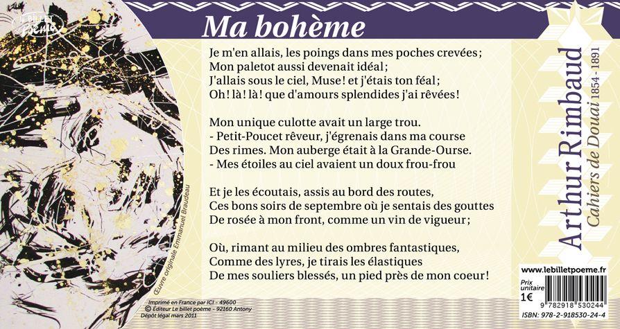 Rimbaud billet n 25 ma boh me d arthur rimbaud le - Illustration de la poesie le dormeur du val ...