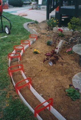 DIY Concrete Landscape Edging Tutorial - So cheap & easy. Maybe try around  fence edge to keep the dogs from digging out? | For the Home | Pinterest |  Diy ...