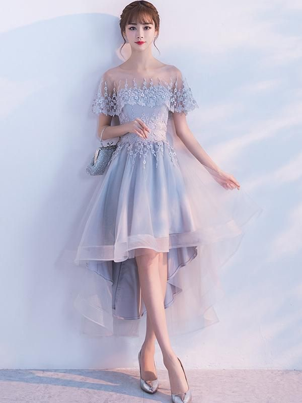 A-line Illusion High-Low Tulle Lace Homecoming Dresses ASD26953 - BohoProm e44ae23fc