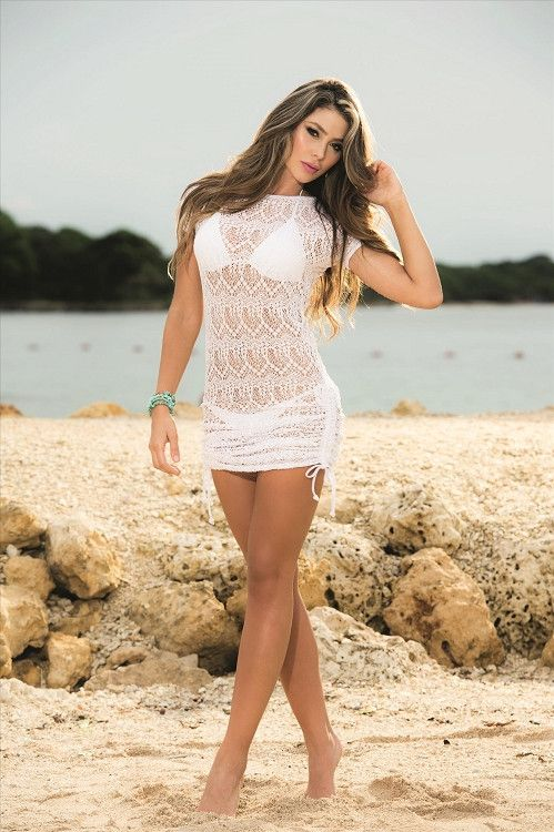 1b45d9b69b216 Hot and Sexy White Crochet Cinch Side Beach Dress Cover-Up - SoHot Swimwear  - Cover-Ups - AM:PM - 1