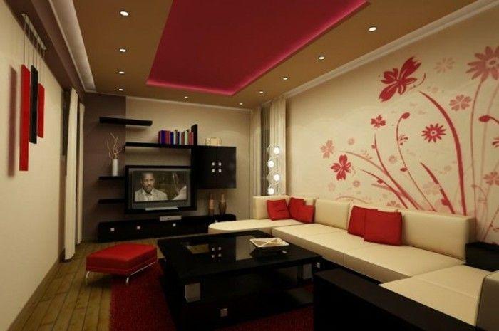 Schöne Wand Deko Ideen Fürs Wohnzimmer Rote Blumen