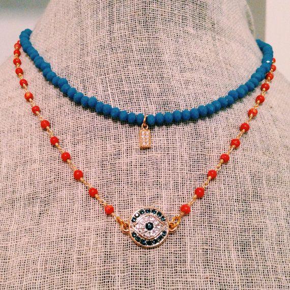 Orange Blue Evil Eye Necklace Set by MadisonMillerBeads on Etsy, $35.00
