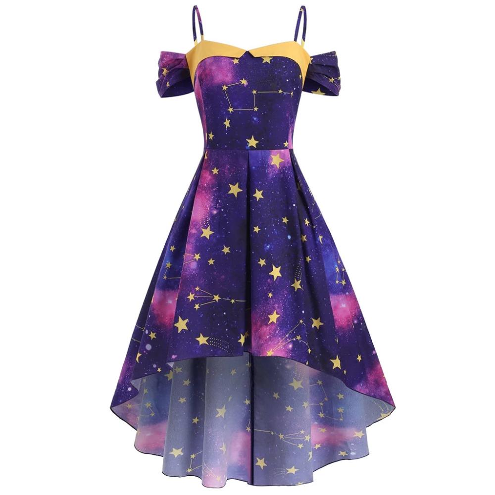 Constellation High Low Dress Soft Kitty Clothing Galaxy Dress Galaxy Fashion Cute Prom Dresses [ 1000 x 1000 Pixel ]