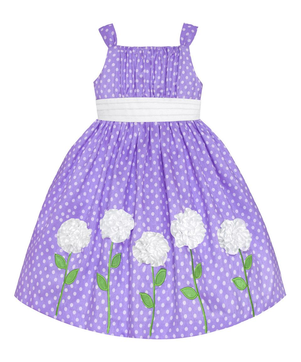 This Lilac & White Polka Dot Flower Dress - Toddler & Girls by ...