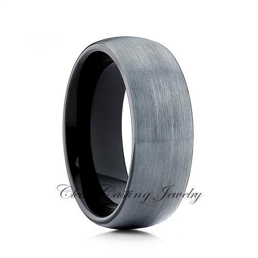 Black Tungsten Wedding Band,8mm,6mm,Tungsten Wedding Ring,Brushed Polish,Engagement Band,Dome,Anniversary Ring,Black Enamel,Handmade,Custom