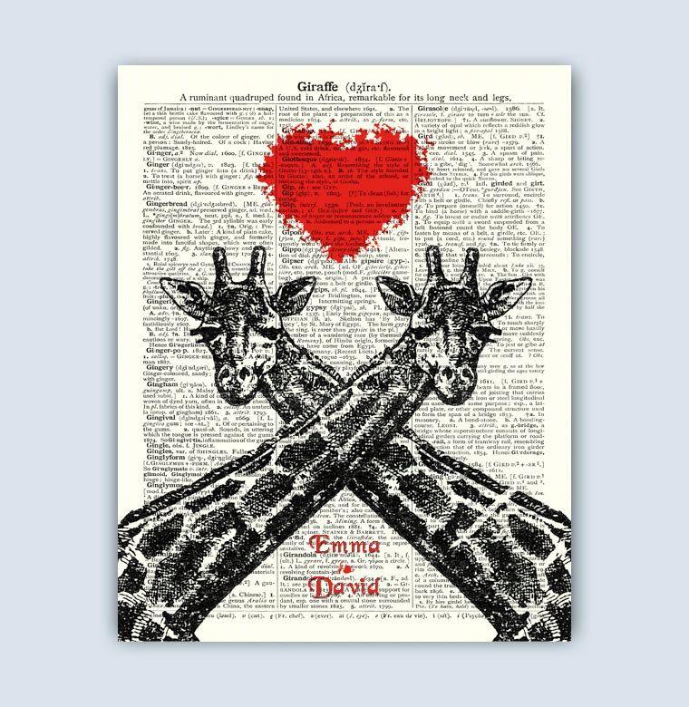 Valentine Giraffe Gift, Personalized Valentine Gift, Giraffe lovers, Giraffe Wedding, Engagement Gift, Anniversary, Personalized Giraffe by DicosLand on ...
