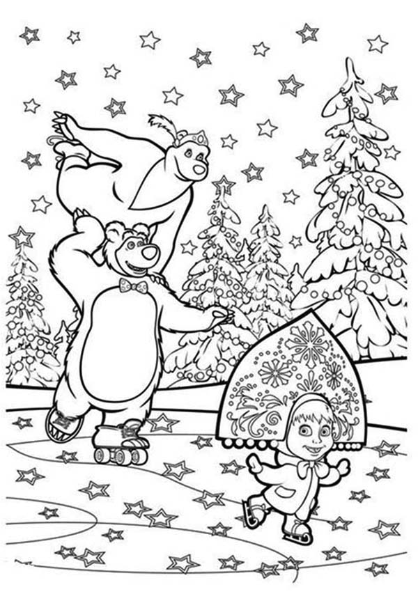 Mascha And Bear Skating With Stars Coloring Pages Bulk Color Star Coloring Pages Coloring Pages Bear Coloring Pages