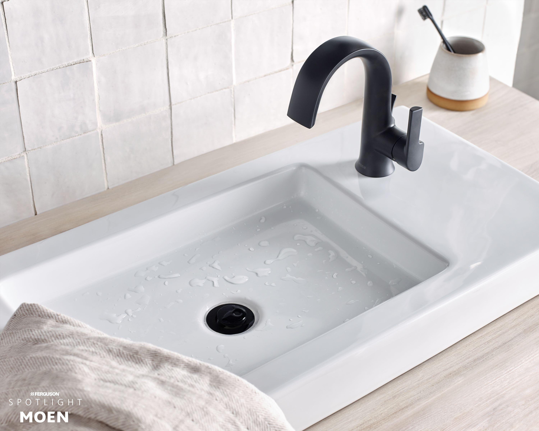 MOEN Bathroom Faucet 1.2 GPM High Arc Single-Handle Lever 1-Hole Matte Black