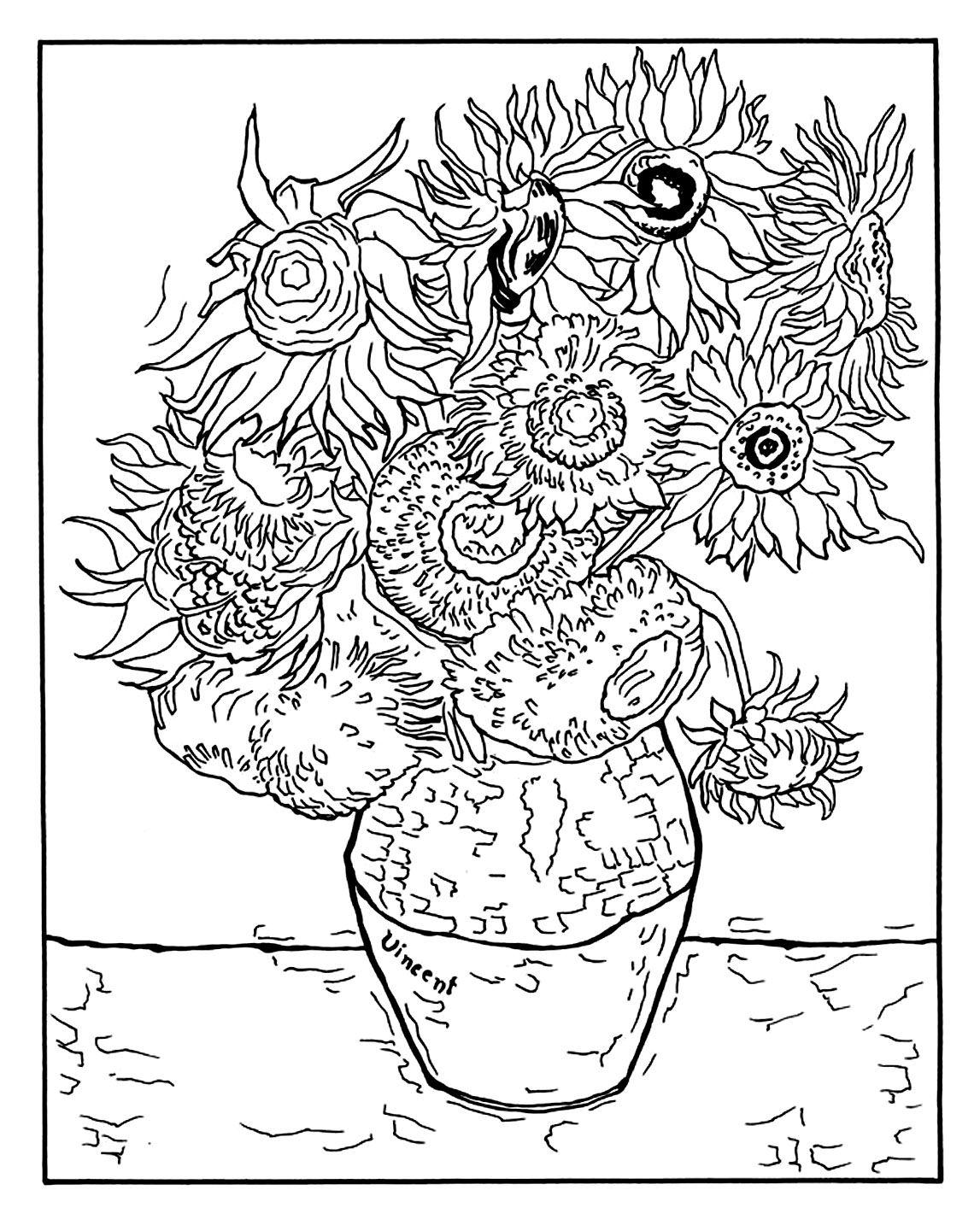 Free Coloring Page Coloring Adult Vincent Van Gogh 12 Tournesols Dans Un Vase