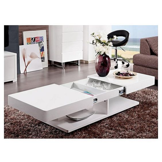 Verona Extendable High Gloss Coffee Table In White 21025: 사무실 테이블, 커피