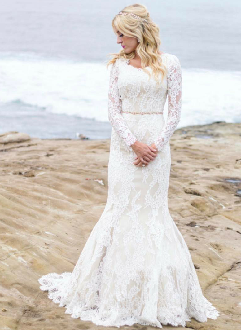 Modest wedding dress with long sleeves from alta moda bridal