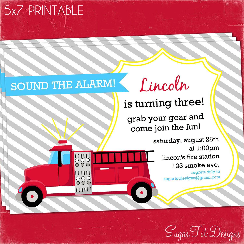 Firetruck Party Invitation, Fire truck Birthday Invitation ...