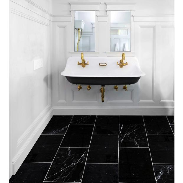 Sable Black Polished Marble Tile In 2020 Black Tile Bathrooms Black Marble Bathroom Black Bathroom Floor Tiles